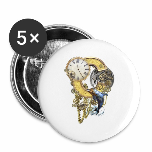 Steampunk Capital C - Buttons large 2.2''/56 mm (5-pack)