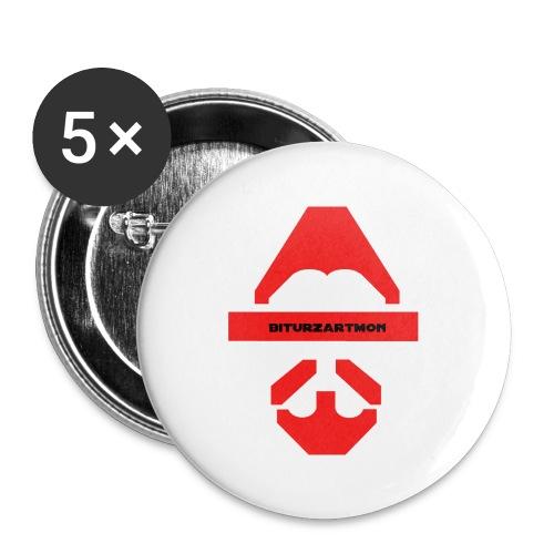 Biturzartmon Logo rot glatt - Buttons groß 56 mm (5er Pack)