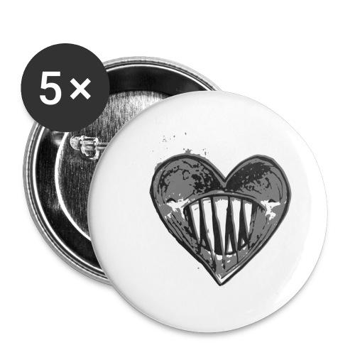 Corazón Negro - Paquete de 5 chapas grandes (56 mm)