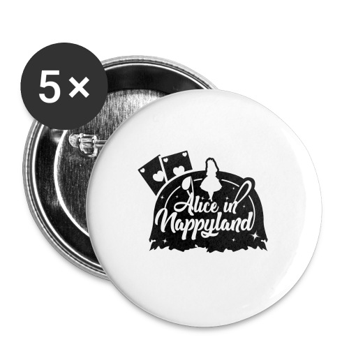 Alice in Nappyland TypographyWhite with background - Buttons large 2.2''/56 mm (5-pack)