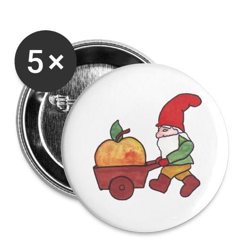 Apfel - Zwerg - Buttons groß 56 mm (5er Pack)