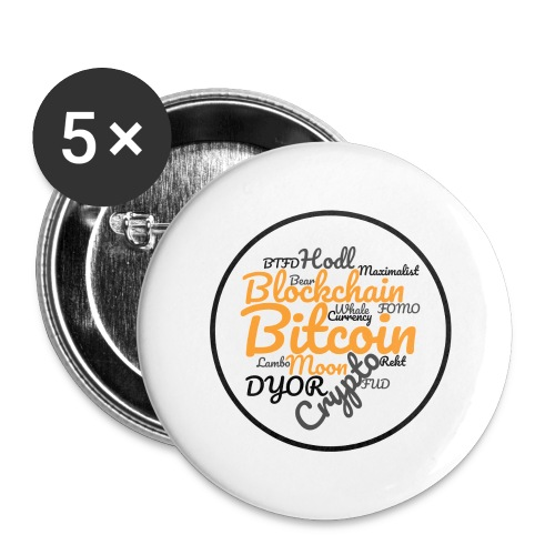 Bitcoin Tag Cloud - Buttons large 2.2''/56 mm(5-pack)