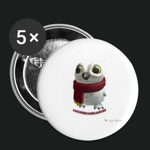 Merch white snow owl - Buttons groot 56 mm (5-pack)
