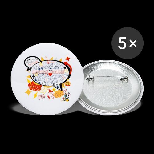 crazystreettalk - Lot de 5 grands badges (56 mm)