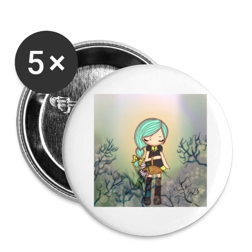 Little forest girl blue hair - Buttons large 2.2''/56 mm(5-pack)