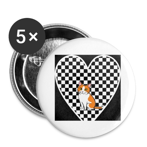 Charlie the Chess Cat - Buttons large 2.2''/56 mm(5-pack)