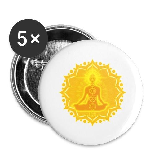 Yoga Lotus Meditation Chakren III - Buttons groß 56 mm (5er Pack)