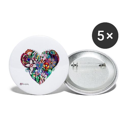 Mandala Herz bunt. - Buttons groß 56 mm (5er Pack)