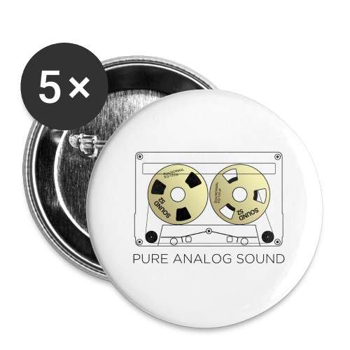 Reel gold cassette white - Buttons large 2.2''/56 mm(5-pack)