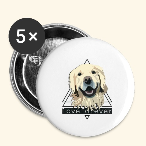 RETRIEVER LOVE FOREVER - Paquete de 5 chapas grandes (56 mm)