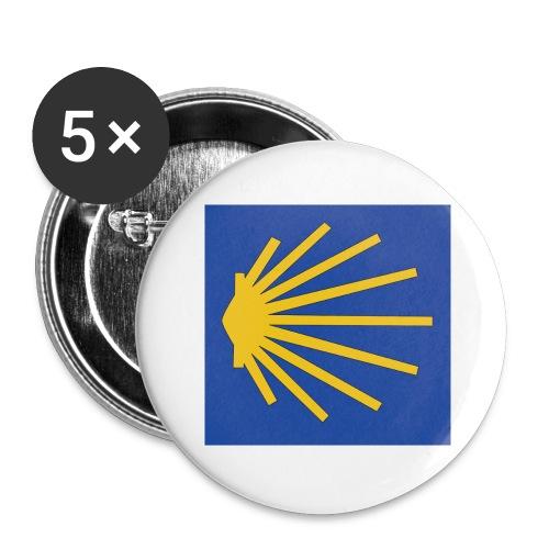 Muschel Wegweiser - Buttons groß 56 mm (5er Pack)