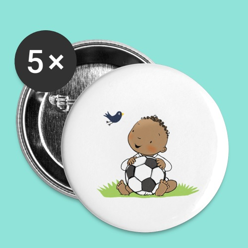 Cute Boy with ball - Buttons groot 56 mm (5-pack)
