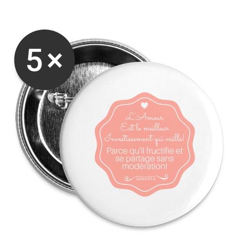 Amour - Lot de 5 grands badges (56 mm)