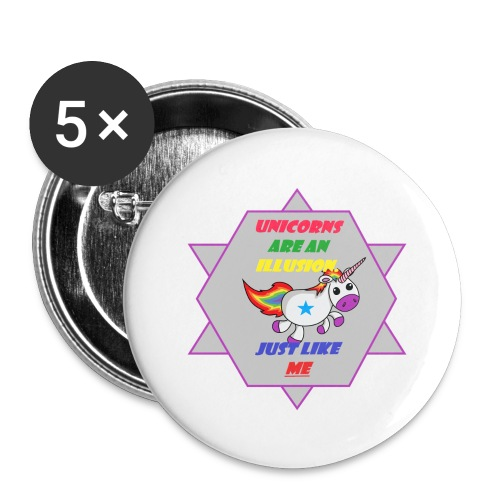 Unicorn with joke - Buttons large 2.2''/56 mm (5-pack)