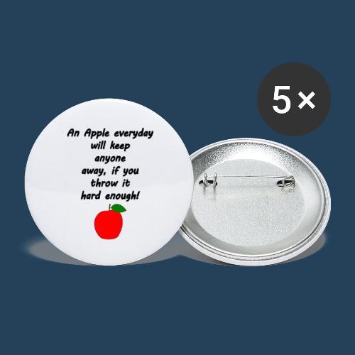Lustiger Apfelspruch - Buttons groß 56 mm (5er Pack)