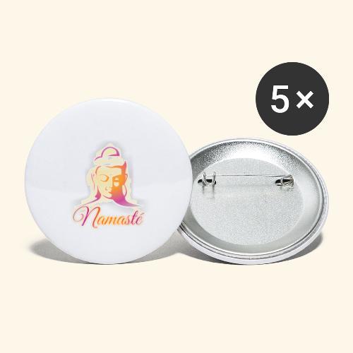Buddha - Namasté - Buttons groß 56 mm (5er Pack)
