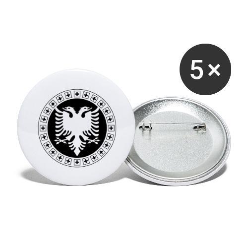 Albanien Schweiz Shirt - Buttons groß 56 mm (5er Pack)