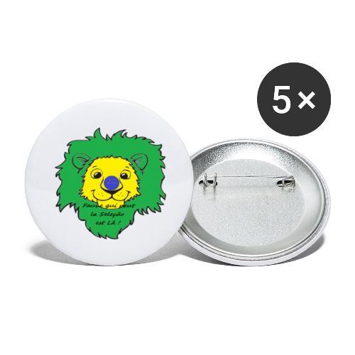 Lion supporter Brésil - Lot de 5 grands badges (56 mm)