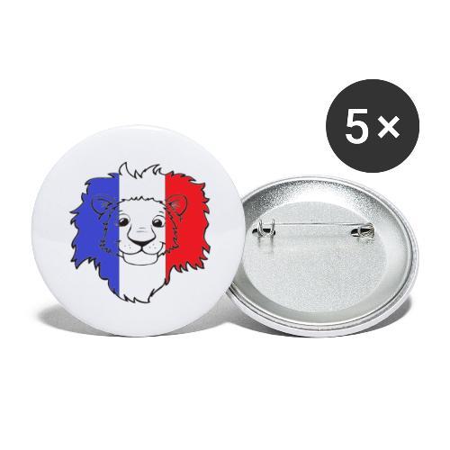 Lion France - Lot de 5 grands badges (56 mm)
