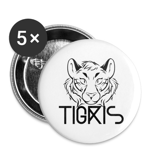 Tigris Logo Picture Text Black - Buttons large 2.2''/56 mm(5-pack)