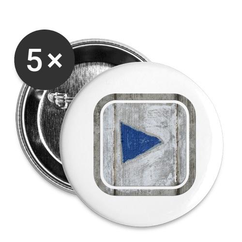 hier entlang ! - Buttons groß 56 mm (5er Pack)