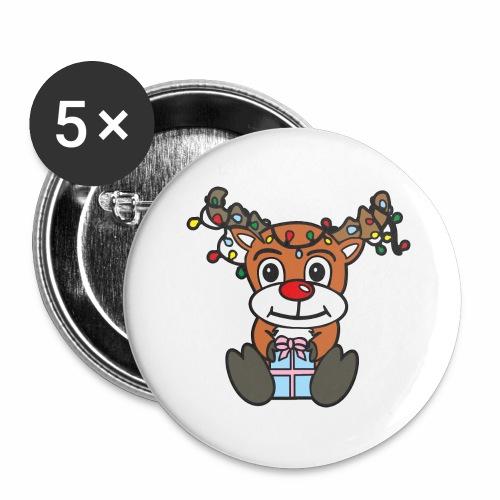 Rentier mit Lichterkette - Buttons groß 56 mm (5er Pack)