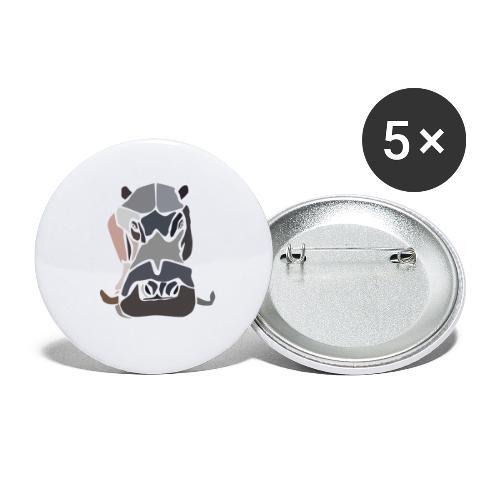 Hippopotame by joaquin - Lot de 5 grands badges (56 mm)
