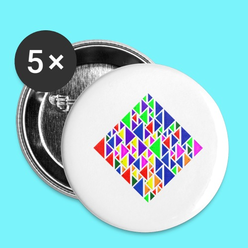A square school of triangular coloured fish - Buttons large 2.2''/56 mm(5-pack)
