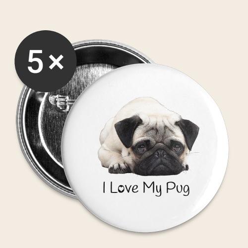 love my pug - Buttons groß 56 mm (5er Pack)