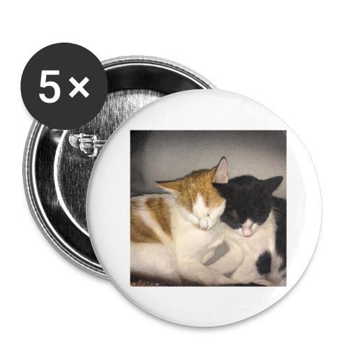 Schlafende Kätzchen - Buttons groß 56 mm (5er Pack)