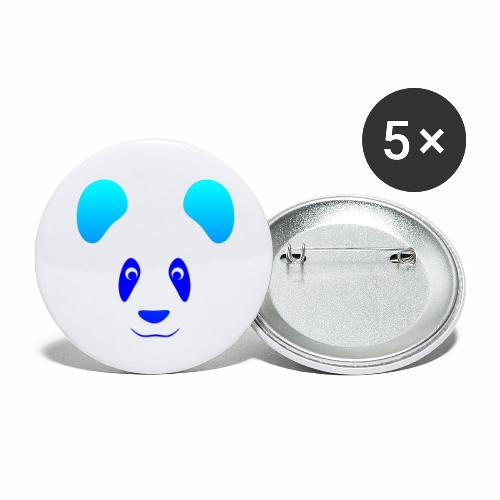 Happy Panda - Blue - Buttons large 2.2''/56 mm (5-pack)