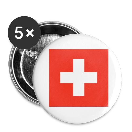Schweiz - Buttons groß 56 mm (5er Pack)