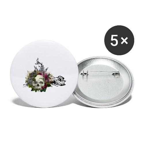 Floral Skull with Cross - Buttons groß 56 mm (5er Pack)