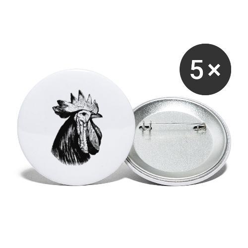 Hahn Kopf - Buttons groß 56 mm (5er Pack)