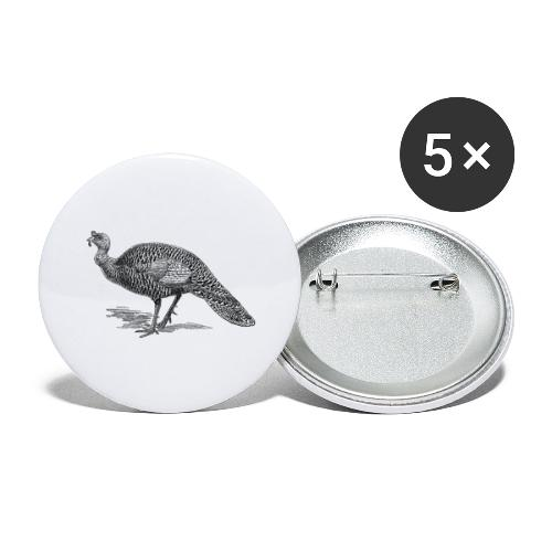 Leichte Pute - Buttons groß 56 mm (5er Pack)