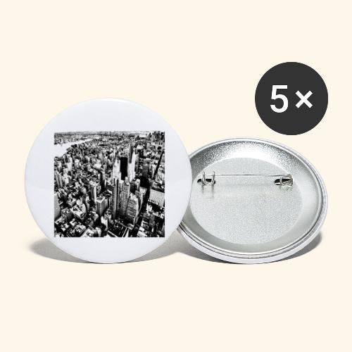 Manhattan in bianco e nero - Confezione da 5 spille grandi (56 mm)