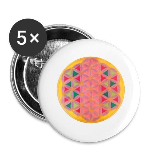 Blume des Lebens - Buttons groß 56 mm (5er Pack)