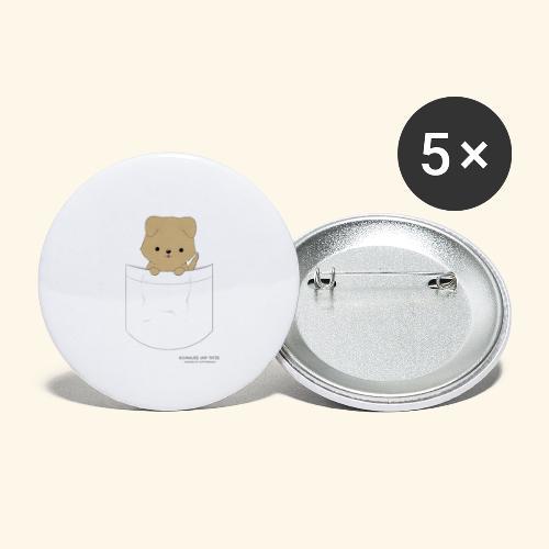 Hund in Tasche - Buttons groß 56 mm (5er Pack)