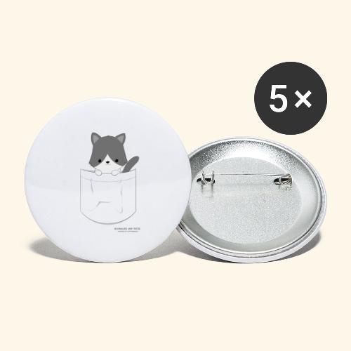 Katze in Tasche - Buttons groß 56 mm (5er Pack)