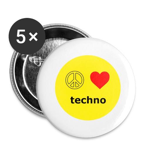 paz amor techno - Paquete de 5 chapas grandes (56 mm)