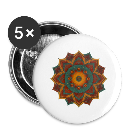 HANDPAN hang drum MANDALA teal red brown - Buttons groß 56 mm (5er Pack)