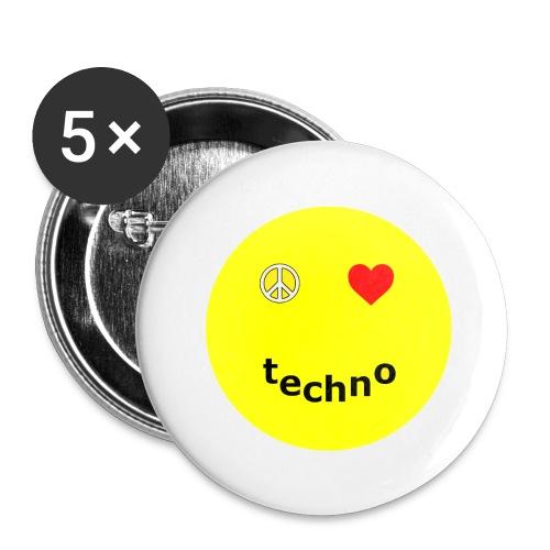 camiseta paz amor techno - Paquete de 5 chapas grandes (56 mm)