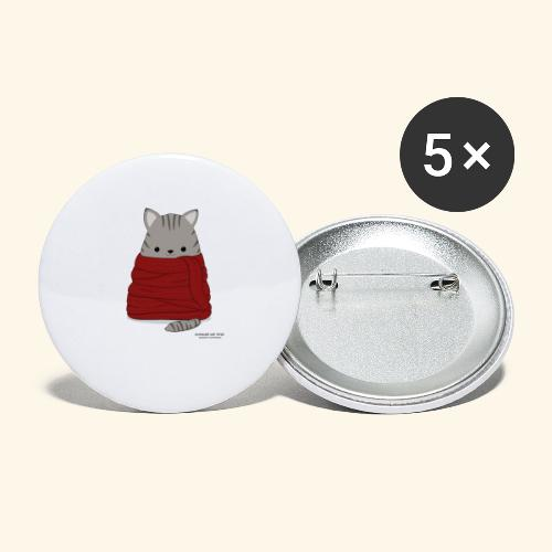 Katze im Winter mit Schal - Buttons groß 56 mm (5er Pack)