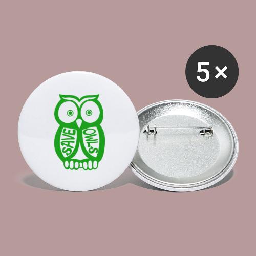 Save owls - Lot de 5 grands badges (56 mm)