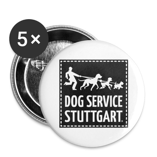 Dog Service Stuttgart schwarz - Buttons groß 56 mm (5er Pack)