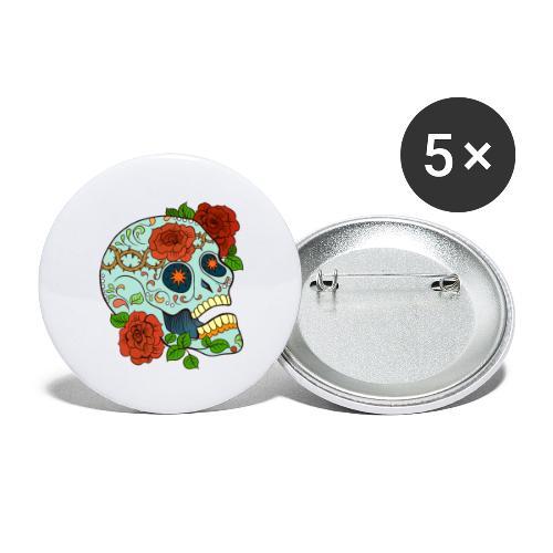 Mexican Skull 5 - Confezione da 5 spille grandi (56 mm)