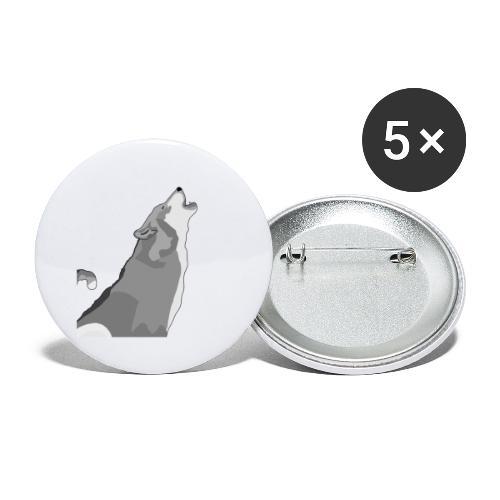 Wolf heulend - Buttons groß 56 mm (5er Pack)