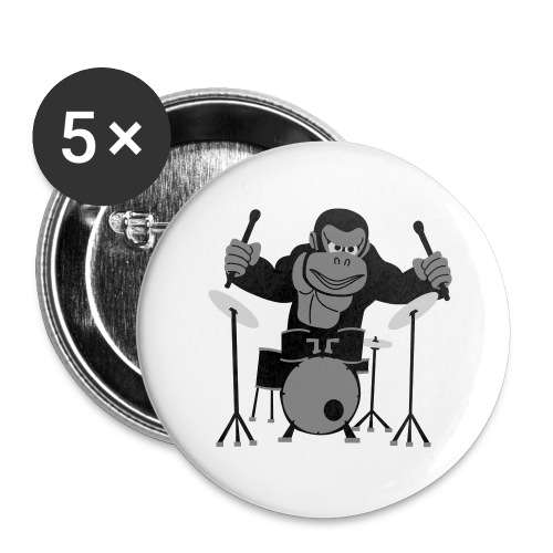 Drumming Gorilla - Buttons large 2.2''/56 mm (5-pack)