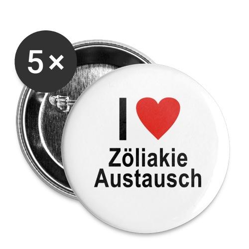 I Love Zöliakie Austausch - Buttons groß 56 mm (5er Pack)