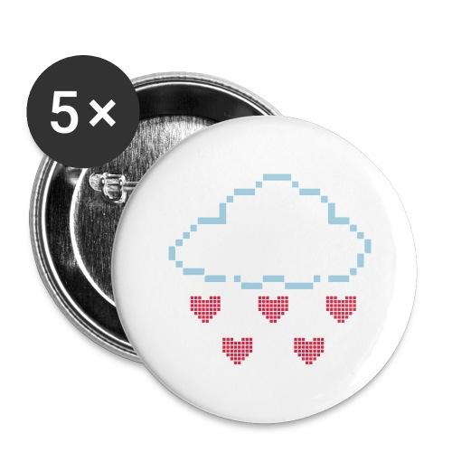 Wolke Pixelherz - Buttons groß 56 mm (5er Pack)